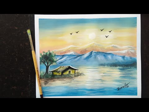 How to make Landscape| Poster Colour painting | Simple and easy Landscape
