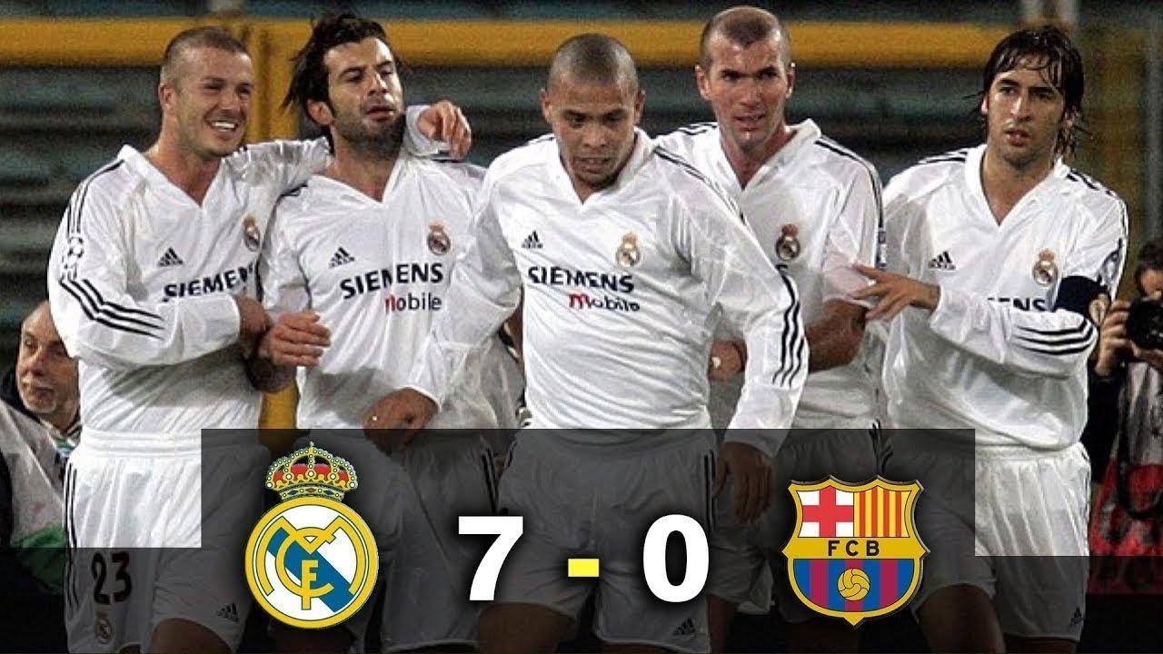 مبارة سحق ريال مدريد برشلونة ب7 0 في مبارة الكلاسيكو عام 2002 Youtube