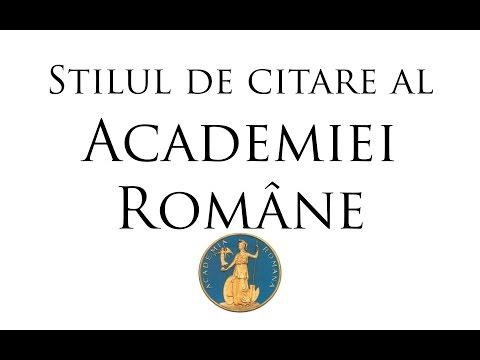 """Tutorial stiluri de citare: """"Academia Română"""" #1"""