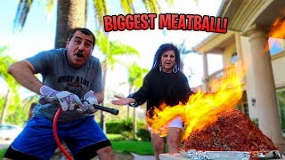 WE MADE THE WORLDS BIGGEST MEATBALL... *40 LBS*