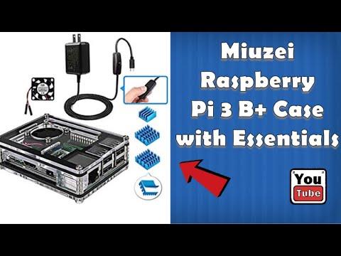 Miuzei Raspberry Pi 3 B+ Case /w fan, heat sinks and Power cord