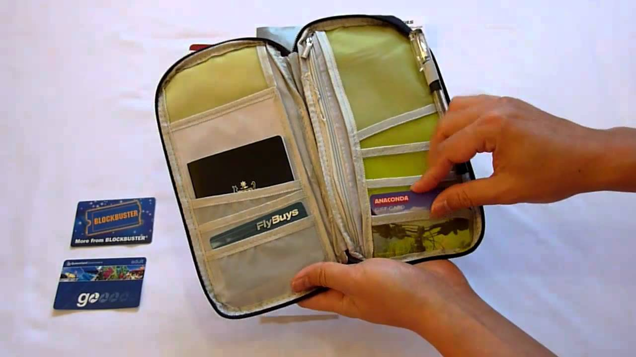 716091694900 Travel passport wallet & document organizer bag - navy