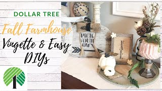 DOLLAR TREE FALL FARMHOUSE VIGNETTE & EASY DIYS | BURLAPFABRIC.COM