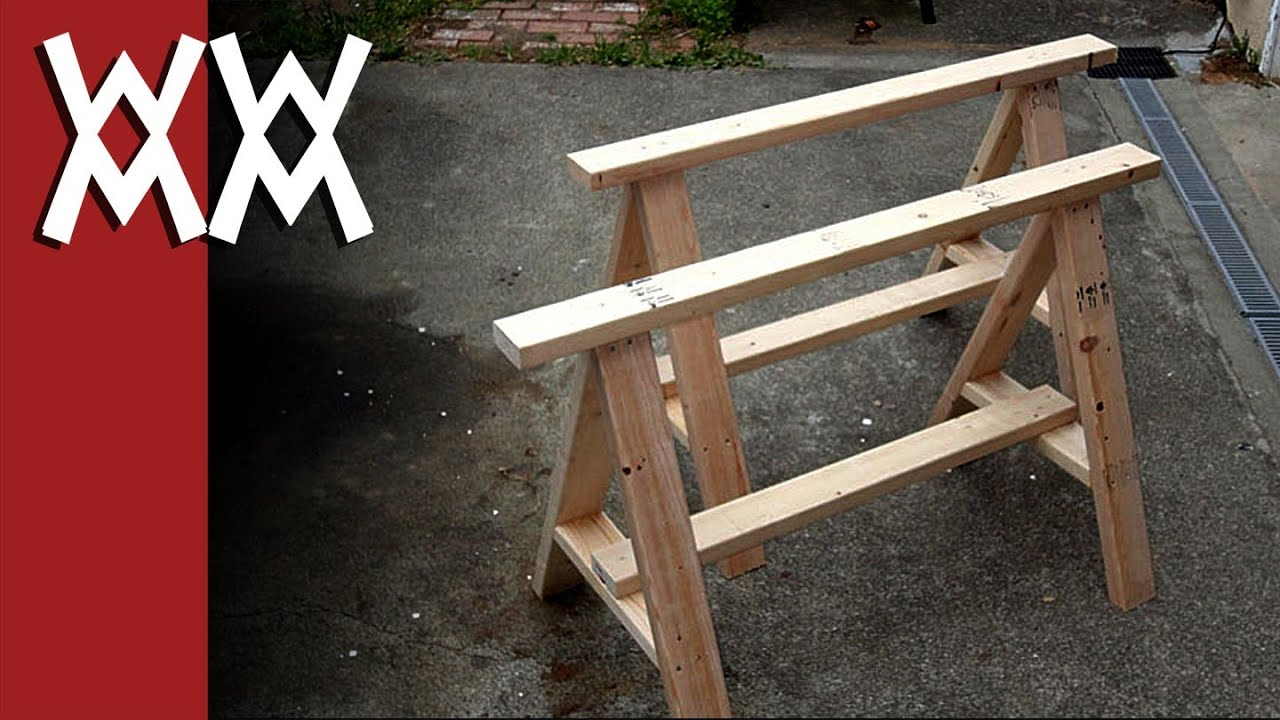 Build a pair of simple sawhorses youtube for Cool things to build with 2x4s