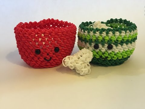 Popcorn Bowl Tutorial Rainbow Loom Kawaii Loomigurumi/Amigurumi Hook Only
