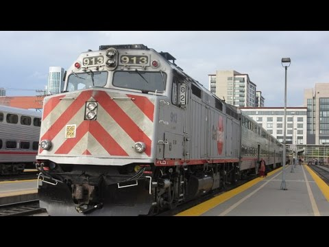 GM EMD Diesel Locos Full CALTRAIN Ride: Sunnyvale to San Francisco - California USA