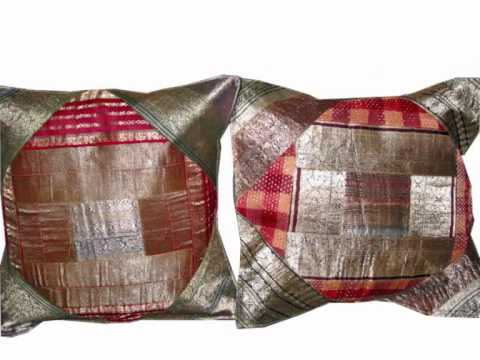 Silk Sari Zari Borders Cushion Covers