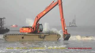 Bardai PLC Amphibious EX- 350 Excavator Sea Operations on hire/rental in India.