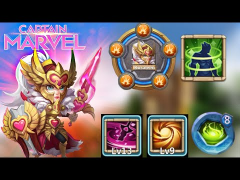 Rosaleen | 13 Skill | Captain Marvel Of Castle Clash😂 | 9 Sacred Light | 5/5 HC | Castle Clash