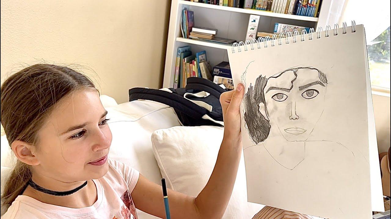 Karolina Protsenko is drawing Michael Jackson
