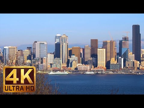 2 Hours Seattle Cityscape Urban Relaxation in 4K with City Sounds | Belvedere Viewpoint Park