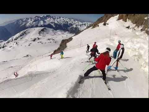 Descente ski alpe d'huez par tunnel 3330m à 1840m