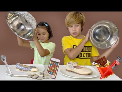Real Vs Chocolate Food Challenge !! Misha And Lucas