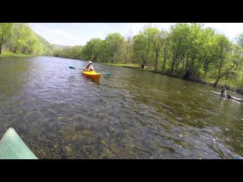 Kayaking on Pine Creek in PA in May GoPro Hero 4