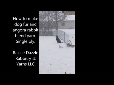 Dog fur and angora yarn blend.