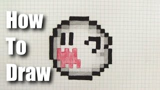 How to Draw 8 Bit Boo from Mario