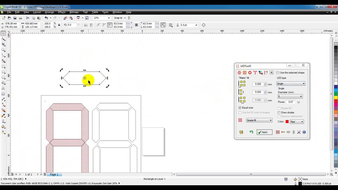 Hướng dẫn vẽ led 7 thanh Corel Draw X5 – Led tool 5