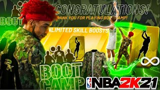 I WON the 1ST BOOT CAMP EVENT on NBA2K21! WINNING UNLIMITED BOOSTS with the BEST BUILD on 2K21!