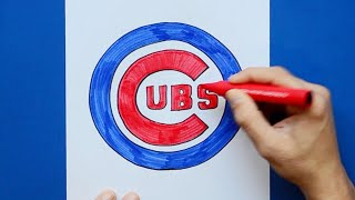 How to draw and color the Chicago Cubs - MLB Team Series