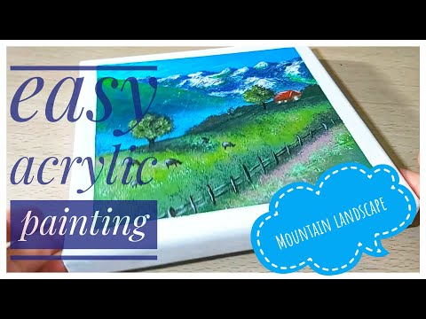 Mountain Landscape/ Easy & Simple Acrylic Painting Step By Step For Beginners/ Satisfying
