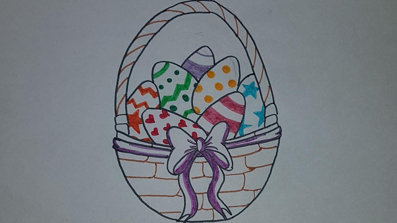 Como dibujar una cesta de pascua con huevos de pascua facil paso a ...