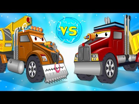 Small Car Playing attacked by Big Truck Rescued by Super Red Truck | Cartoon Songs