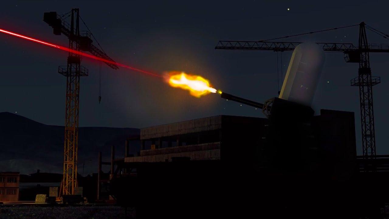 ArmA 3 - C-RAM Gatling Gun in Action vs Fighter Aircraft - Phalanx CIWS - C RAM - Simulation