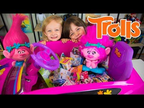 HUGE Trolls Movie Surprise Car Toy Surprise Eggs Girl Toys Slime Baff Dreamworks Kinder Playtime