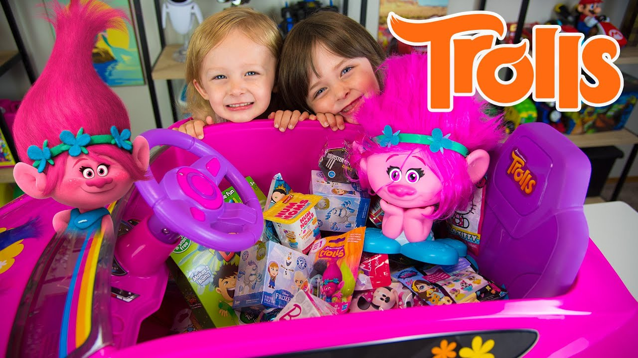HUGE Trolls Movie Surprise Car Toy Surprise Eggs Girl Toys Slime