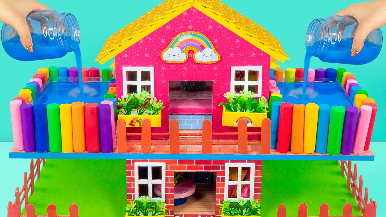 Build Technologically Modern House with 2 Swimming Pools from Cardboard ❤️ DIY Miniature House # 442