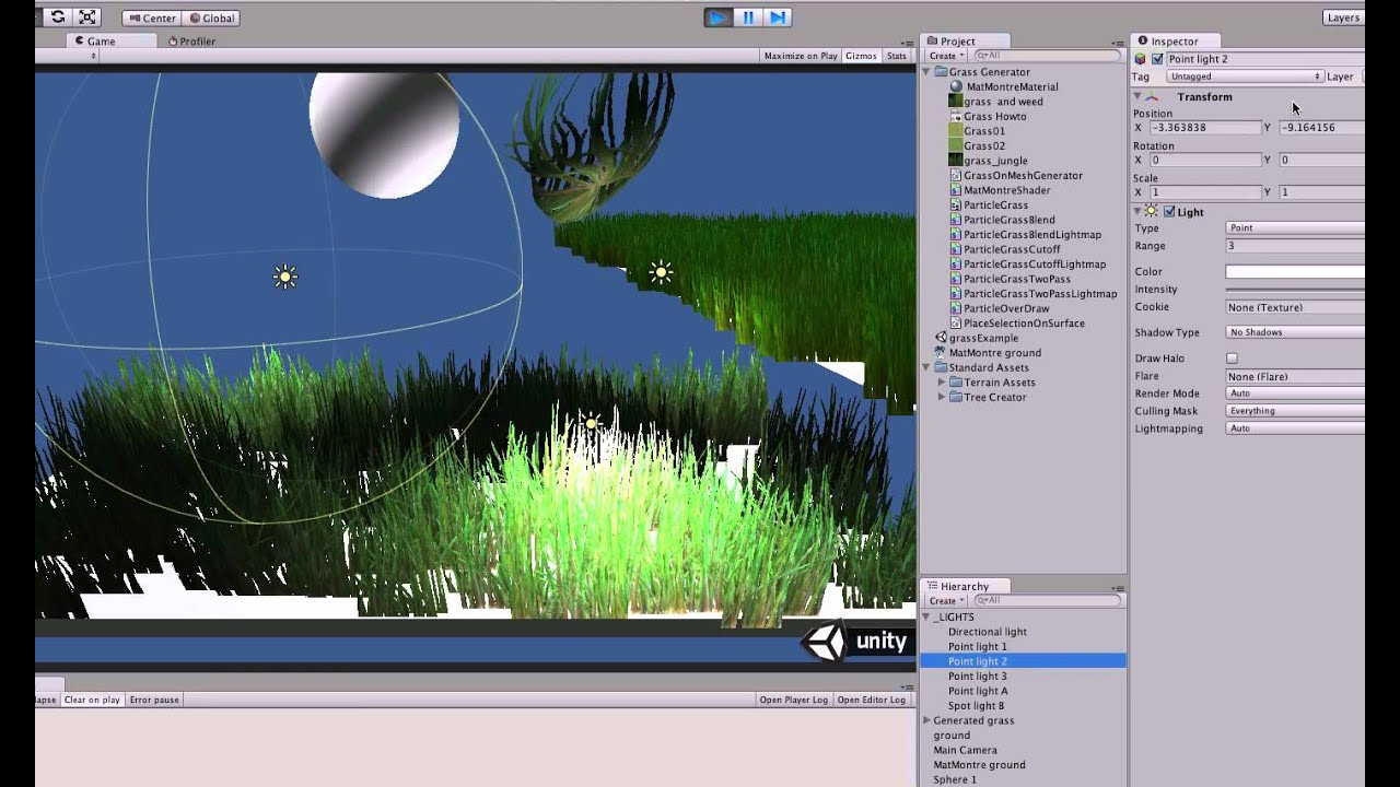 Multiple light support on alpha - shader for grass generator - Unity