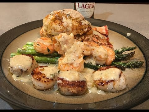 Lobster Shrimp Scallops And Asparagus To Die For