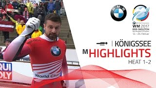 Highlights Heat 1-2 | Martins Dukurs gets things straight | BMW IBSF World Championships 2017