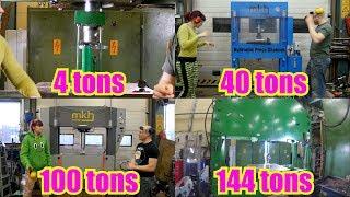 4 Ton Hydraulic press Vs. 144 Ton Hydraulic press
