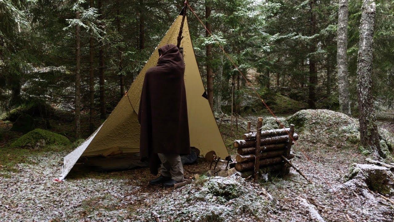 Solo Early Winter Overnight Wild Camp - Bushcraft - Tarp ...
