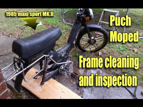 Power washing Puch Moped frame and frame inspection and planning