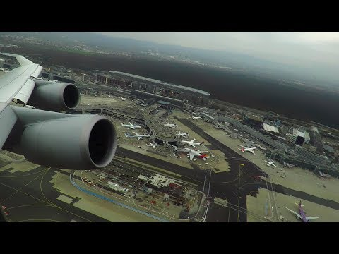 EPIC Lufthansa Boeing 747-400 ONBOARD Takeoff from Frankfurt Airport! (14A, Business Class)