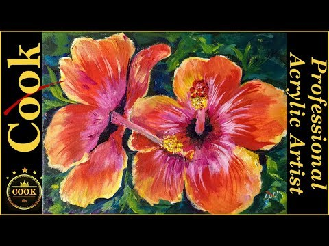 See WhyBrush Direction Matters PaintingHibiscus Flowerswith Acrylic Paintson Canvas