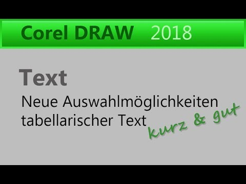 Corel Draw 2018 / Text & Tabelle