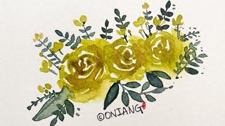 캘리그라피 수채화 초록색 장미꽃을 그림그리기
