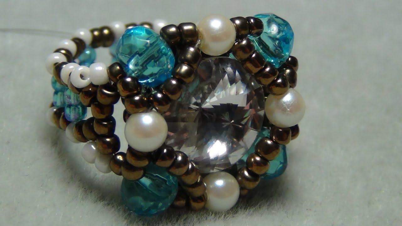 Shank button beaded ring tutorial youtube for Buttons with shanks for jewelry