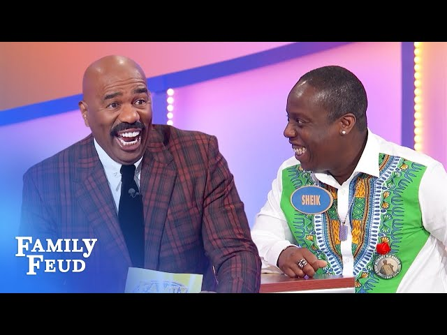 Steve Harvey goes nuts over Sheik's crazy answer! | Family Feud
