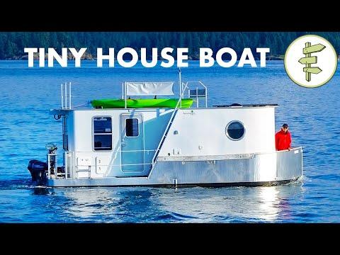 Boat Builder's AMAZING Modern Tiny House Boat - Full Tour