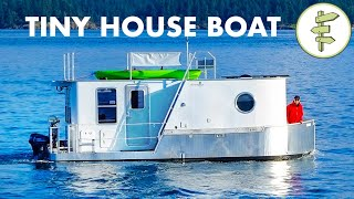 Boat Builder's AMAZING Modern Tiny House Boat - Full Tour