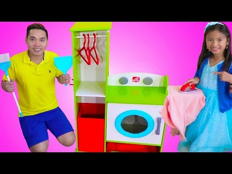 Wendy Pretend Play CLEANING with her Giant Washing Machine & Cleaning Toys