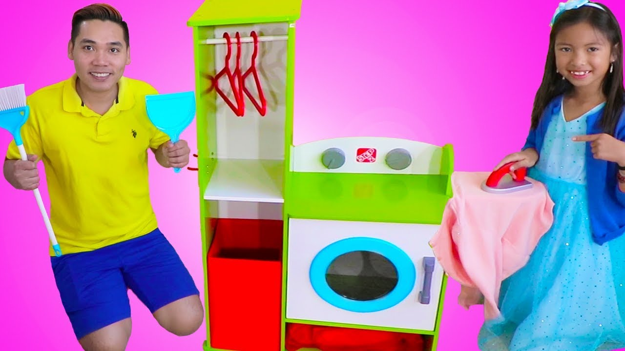 Wendy Pretend Play Cleaning With Her Giant Washing Machine
