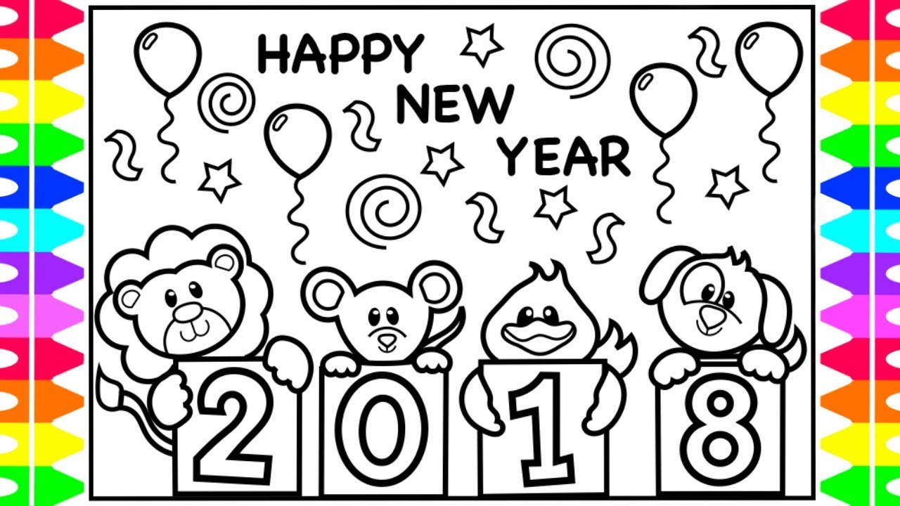 Coloring for Kids Happy New Year 2018 Coloring Book| Fun ...