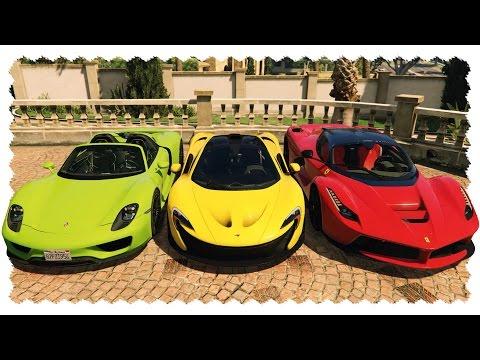 CUSTOMIZABLE HYPER CARS (LaFerrari, 918 Spyder, P1) | GTA 5 Real Car Mods