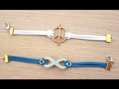 39b2de4bcf8b1  اكسسوارات  طريقة عمل اساور بالخيوط الجلدية في اقل من خمس دقائق DIY Suede  cord bracelet - YouTube