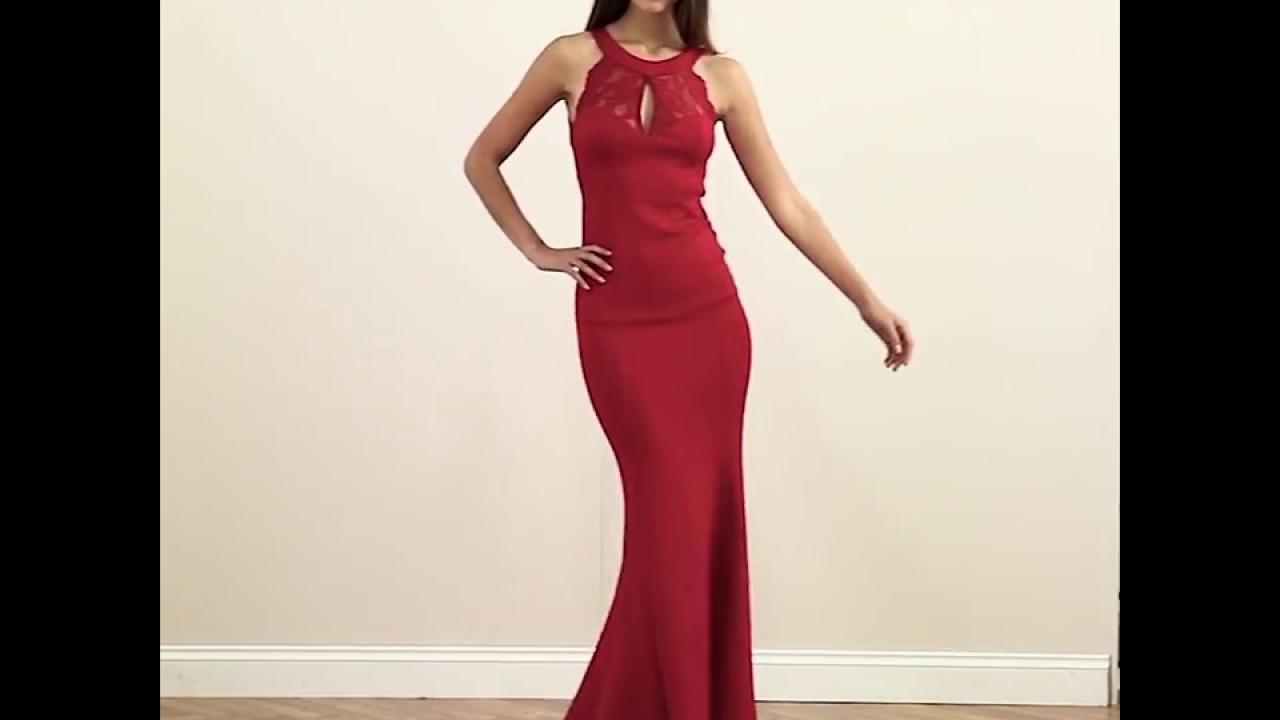 Open Back Maxi Dress In Red With Lace And Frill Detail